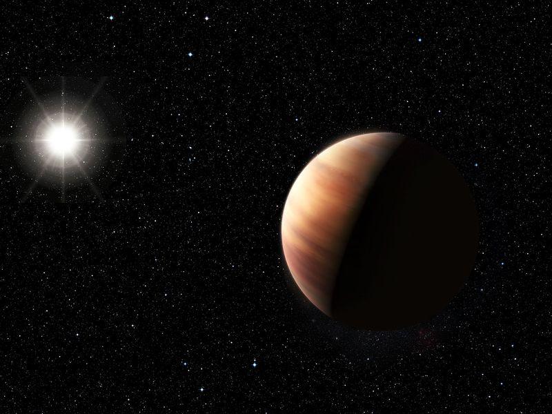 Concepto artístico del exoplaneta y la estrella HIP11915 (ESO/L.Benassi).