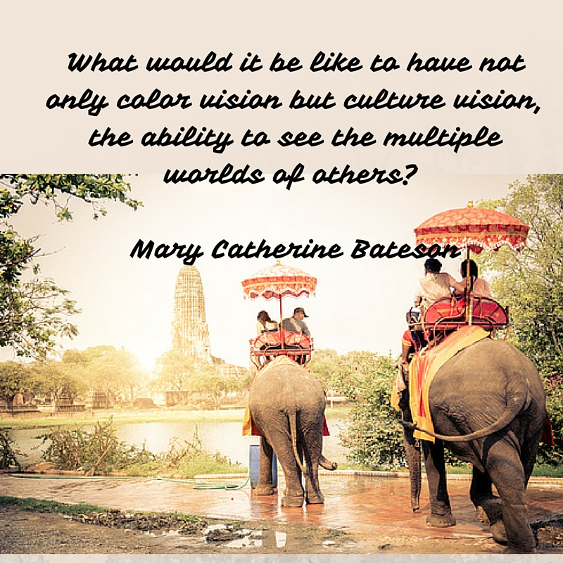 What would it be like to have not only color vision but culture vision, the ability to see the multiple worlds of others- Mary Catherine Bateson
