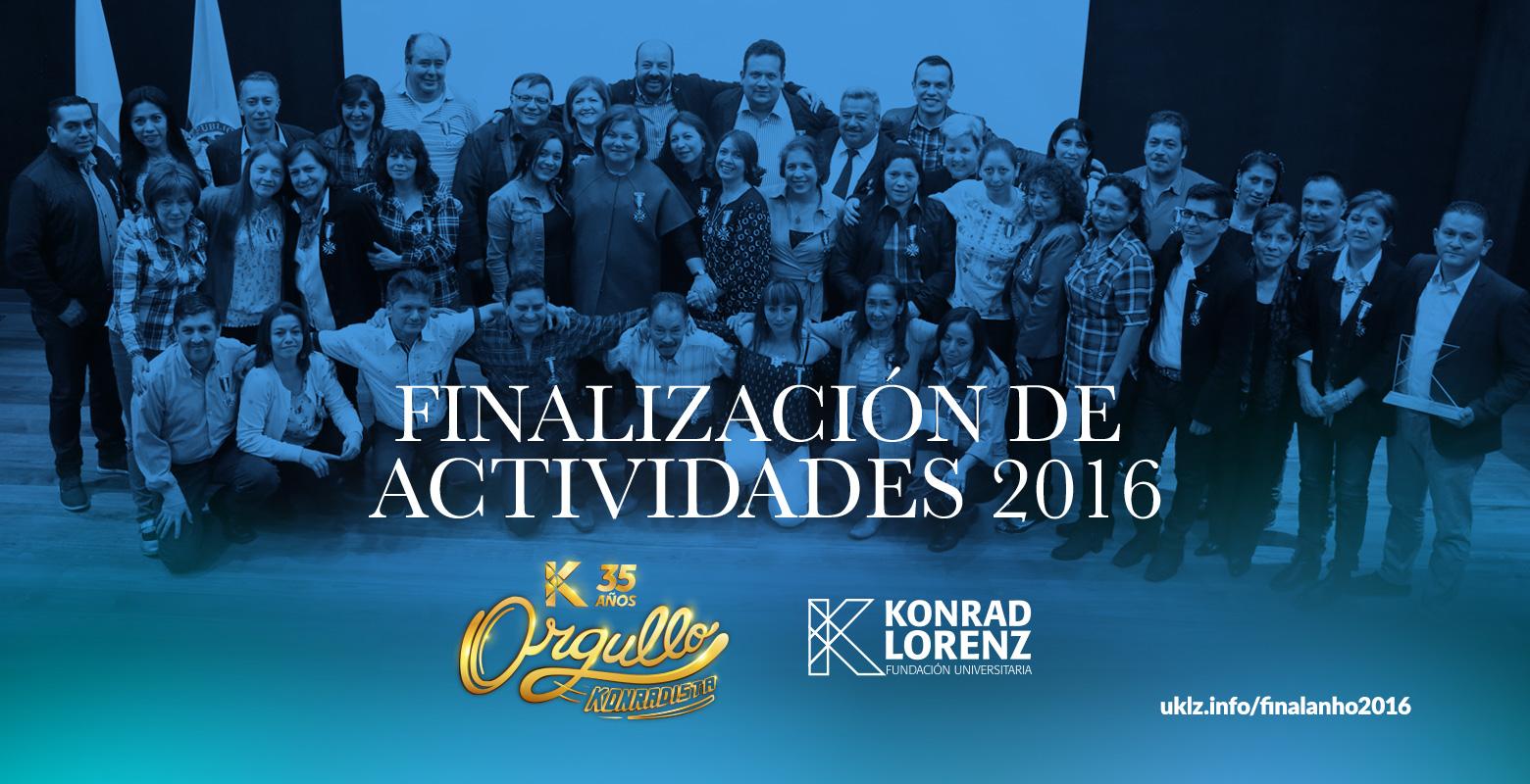 Finalización de actividades 2016
