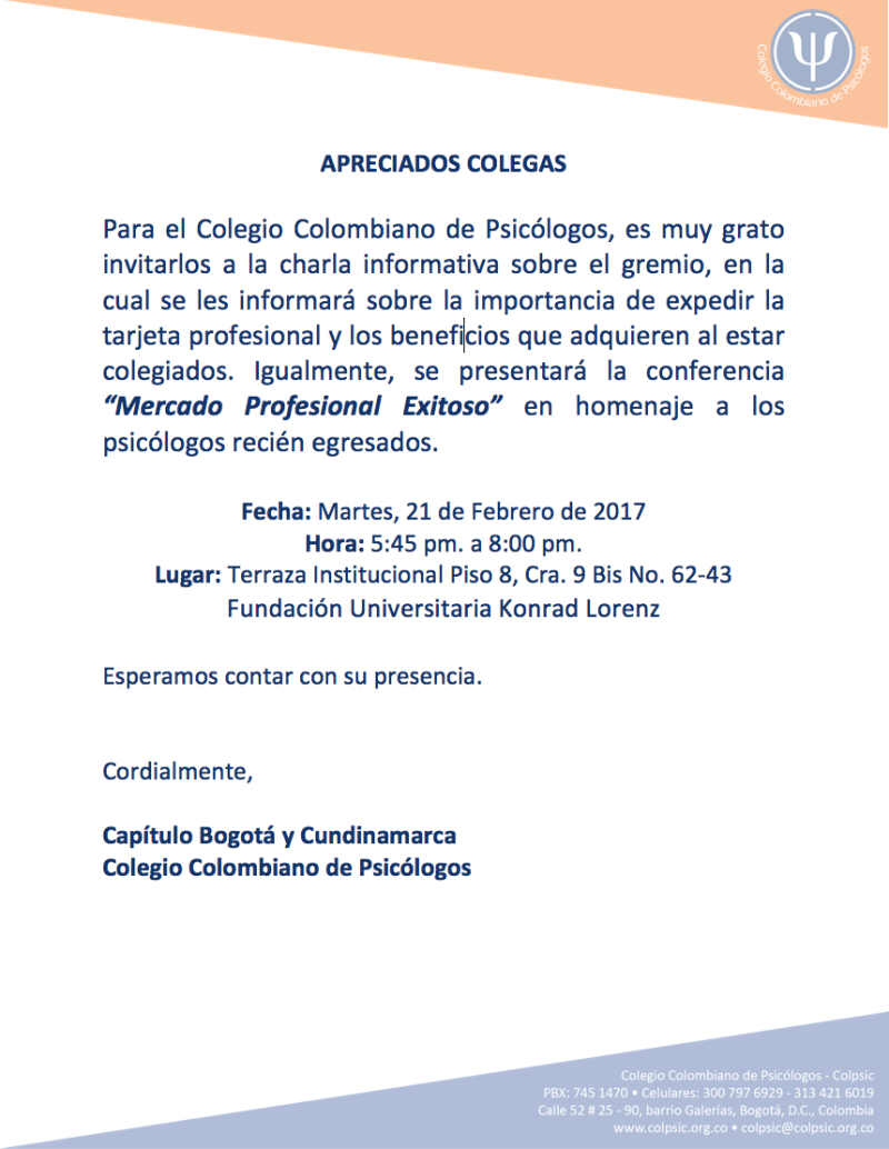 INVITACIÓN COLPSIC