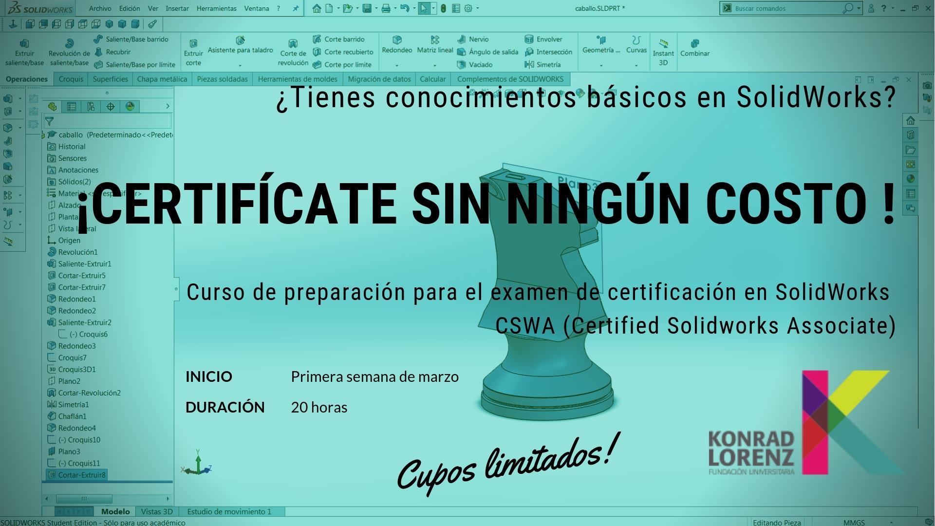 Curso de preparación para el examen de certificación en SolidWorks (CSWA)