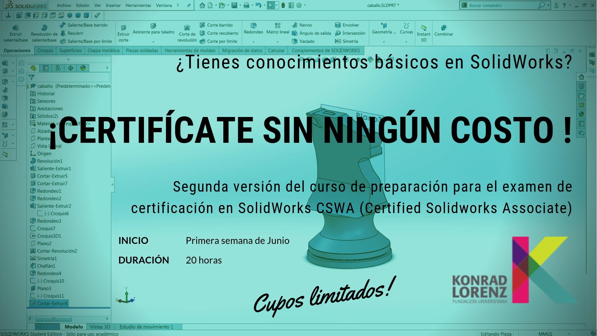 Todo un éxito fue el curso de preparación para el examen de certificación en SolidWorks (CSWA)